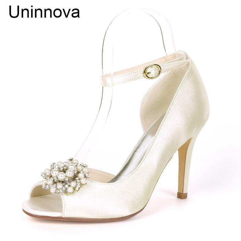 Ivory White Thin Heel Wedding Shoes Peep Toe Rhinestone
