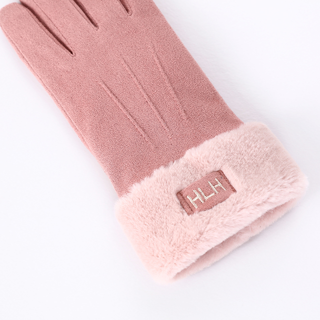 New Winter Female Lace Warm Cashmere Three Ribs Cute Bear Mittens Double thick Plush Wrist Women Touch Screen Driving Gloves 81B 4