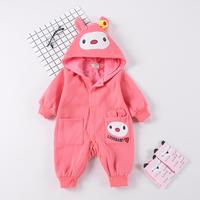 1PC Buttons LoveBaby Cartoon Baby Girl Hoody Bodysuit Cotton Infant Girl Outfit Jumpsuit Infant Autumn Winter Clothes