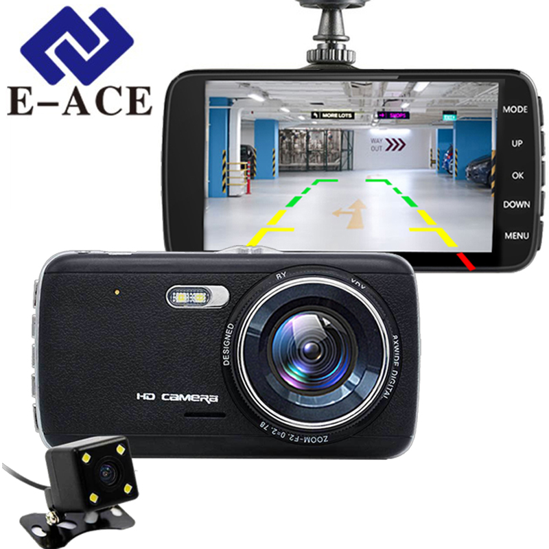E-ACE 4.0 Inch Car Dvr Dual Dash Camera Mini Camcorder Automotive Video Recorder Rear View Camera Mirror Dvr ADAS HD Carcam DVRs
