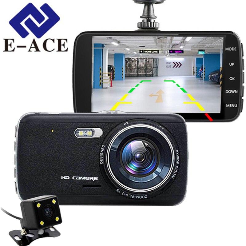E-ACE 4.0 pouces voiture Dvr double tableau de bord caméra Mini caméscope automobile enregistreur vidéo rétroviseur Dvr ADAS HD Carcam DVRs