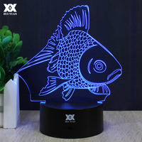 Cartoon Goldfish 3D Lamp LED 7 Color Change Night Light USB Children S Room Decor Table