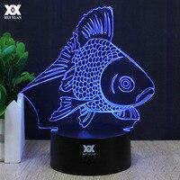 Cartoon Goldfish 3D Lamp LED 7 Color Change Night Light USB Children S Room Decor Table