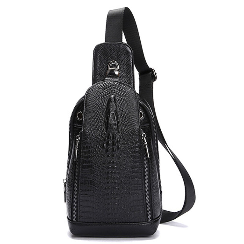 Men Genuine Leather Crocodile Grain Travel High Quality Shoulder Cross Body Messenger Bag trend Sling Day Pack Chest Bag