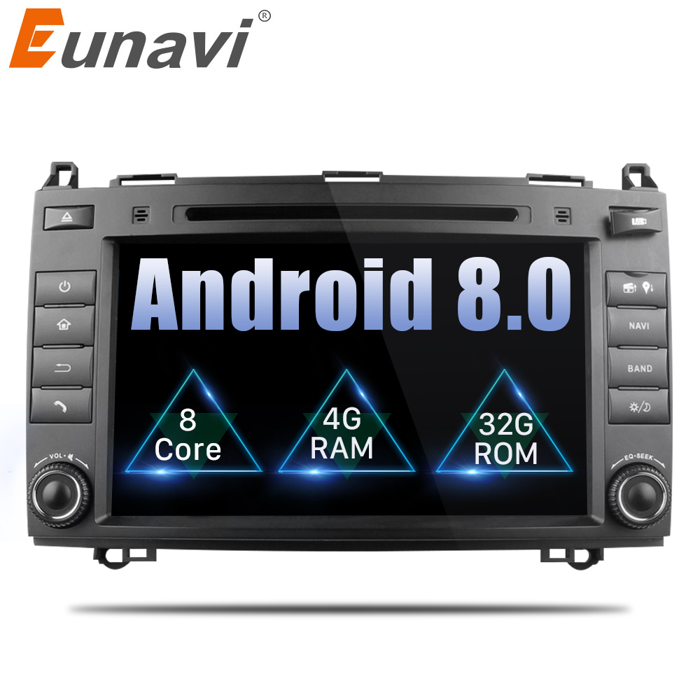 цена на Eunavi 2 Din Octa Core 8'' Android 8.0 Car DVD GPS For Mercedes/Benz C Class W203 2004-2007 C200 C230 C240 C320 C350 CLK W209 04