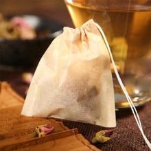 SEAAN 100pcs/lot Tea Bag Filter Paper Bags Heat Seal Teabags Strainer Infuser Wood Drawstring for Herb Loose