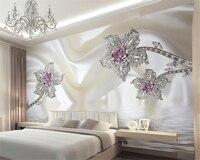 Beibehang tapeten wohnkultur 3d-stereo weiß luxus schmuck seide wasser welle TV wand papier tapete für wohnzimmer zimmer