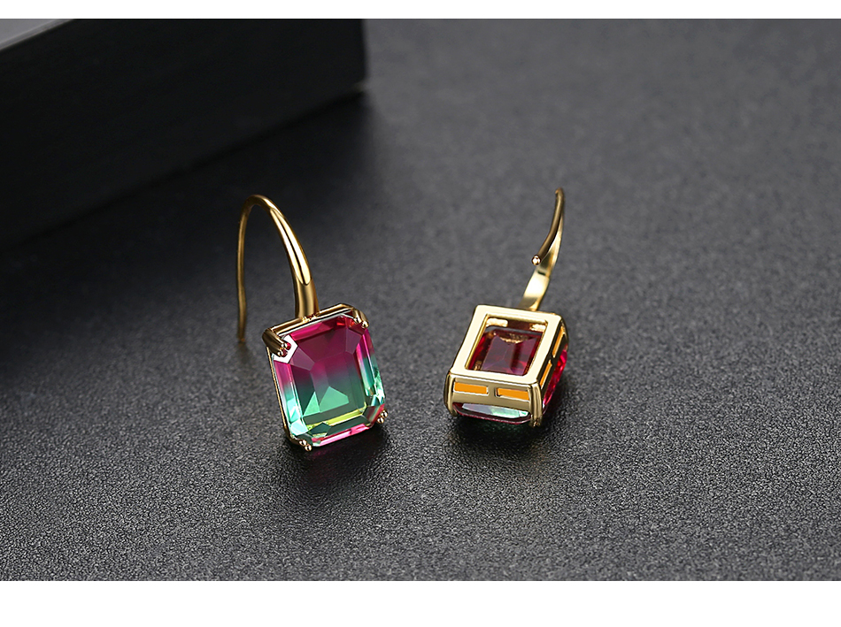 LUOTEEMI New Exquisite Drop Earrings for Women Party Dating Luxury Square-shaped Color Treasure Two Colors Female Christmas Gift 9