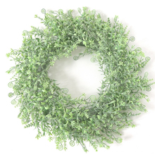 цена на 46cm New Simulation Grass Ring Artificial Plastic Leaf Garland Sweet Leaf Ring Wall Hanging Wreath Hippocampus Grass Ring M18