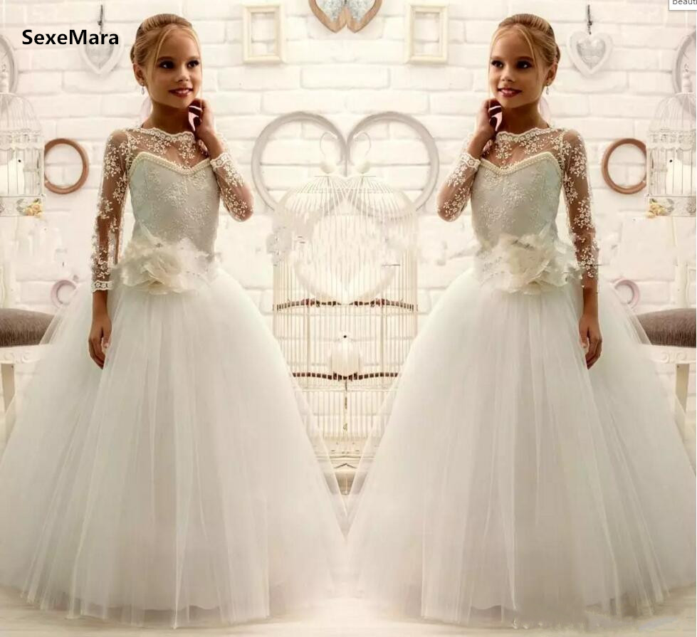Beautiful Lace Flower Girl Dresses for Wedding Long Sleeve Jewel Neck with Handmade Flower Sash Tulle Kids Communion Dress elegant jewel neck long sleeve faux twinset design blouse for women