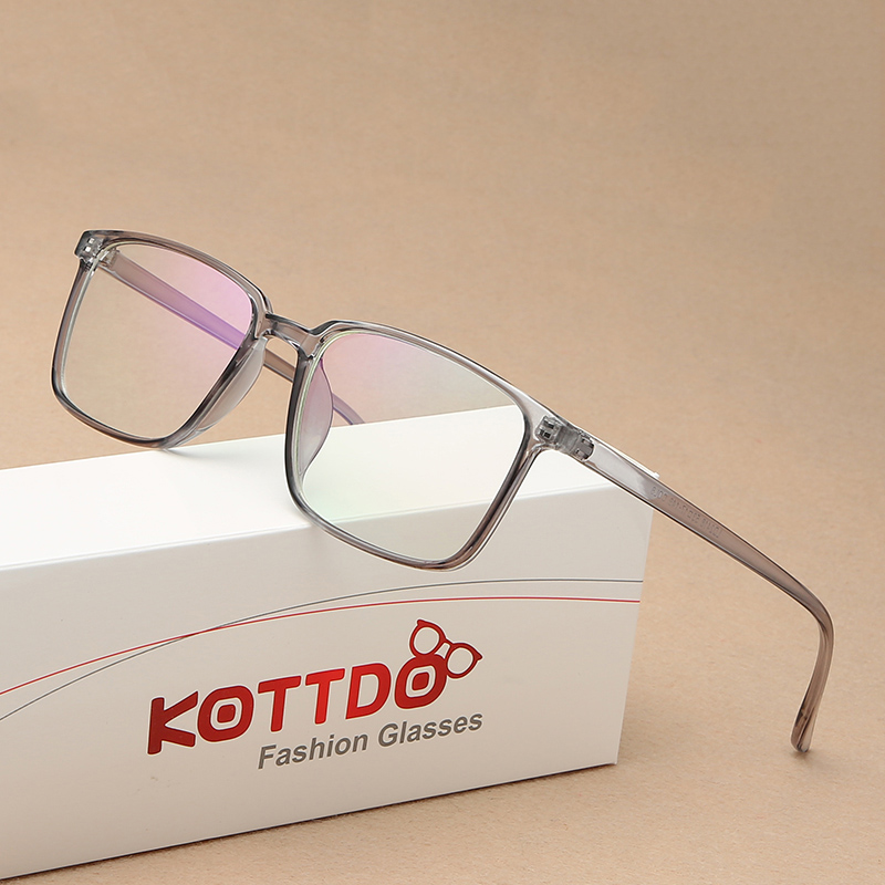KOTTDO Fashion Classic Retro Square Flat Eyeglasses High Quality Brand Designer Men's Transparent Eye Glasses Frame