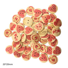 50pcs 20mm 2Holes Wooden Buttons Hearts Style Sewing Scrapbooking Accessories DIY Sew Craft Decorative Wood Love Button