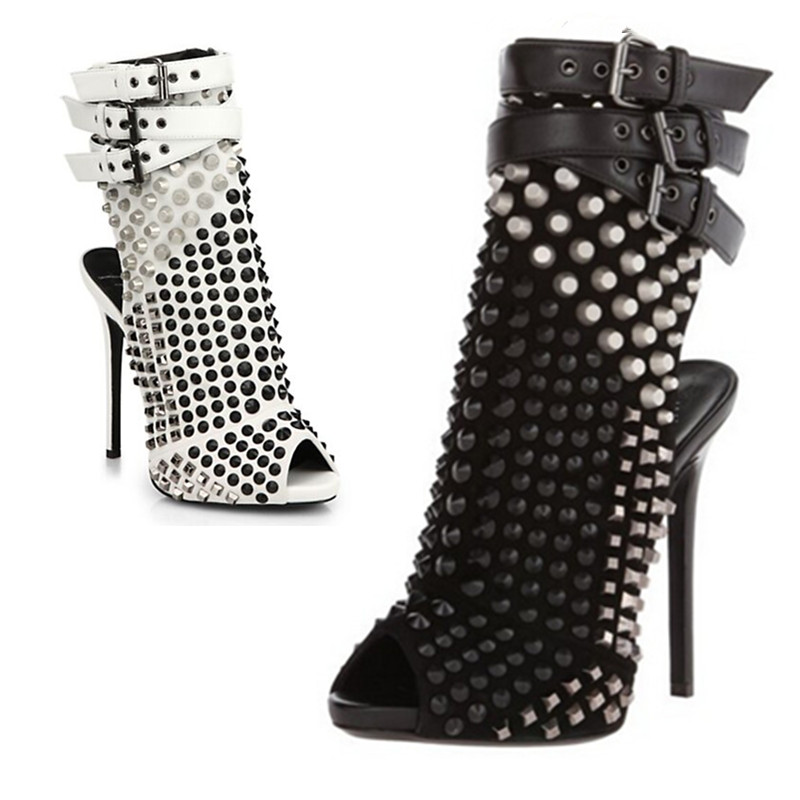 Fashion white/black studs charming slingbacks ankle boots buckles strap peep toe stiletto high heels summer booties 35-43 new popular black and white exquisite beads and rivets decorated three buckles peep toe high heeled short sandal boots