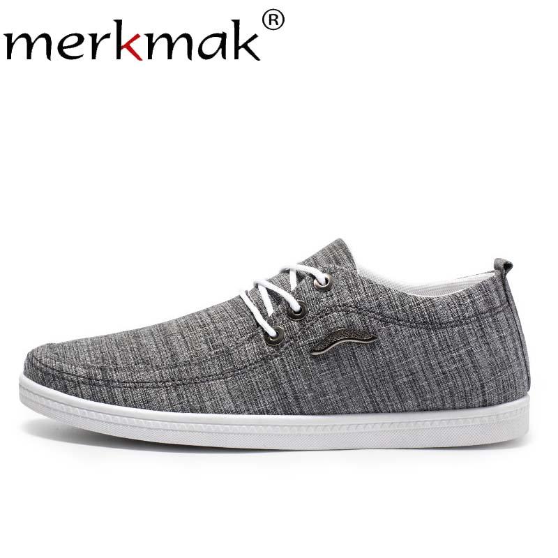 Merkmak New Spring Canvas Men Shoes Fashion Autumn Solid Elastic Band Comfortable Outdoor Casual Footwear Flat Soft Man Shoes