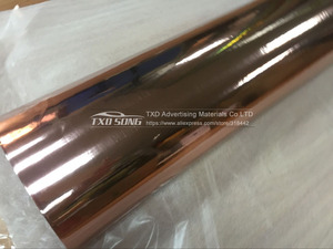 Image 3 - Rose Gold strechable chrome mirror vinyl car wrap sticker with air bubbles flexible Chrome mirror vinyl Sticker