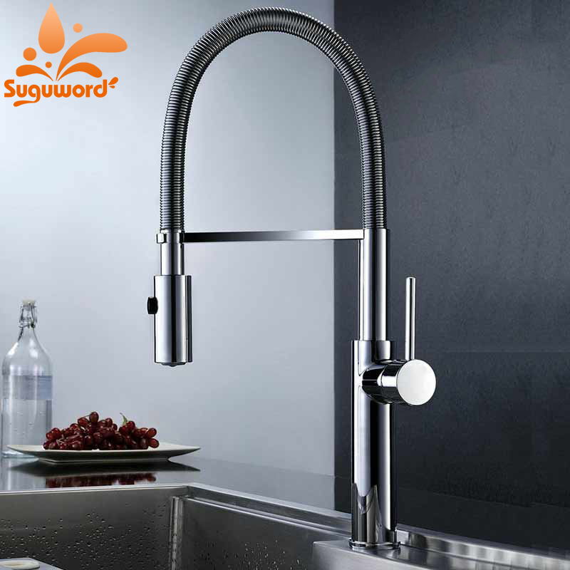 Household Kitchen Faucet Chrome and Brushed Nickel Sink Faucets Pull Down Spout Mixer Valve Tap Single Handle Taps newly arrived pull out kitchen faucet gold sink mixer tap 360 degree rotation torneira cozinha mixer taps kitchen tap
