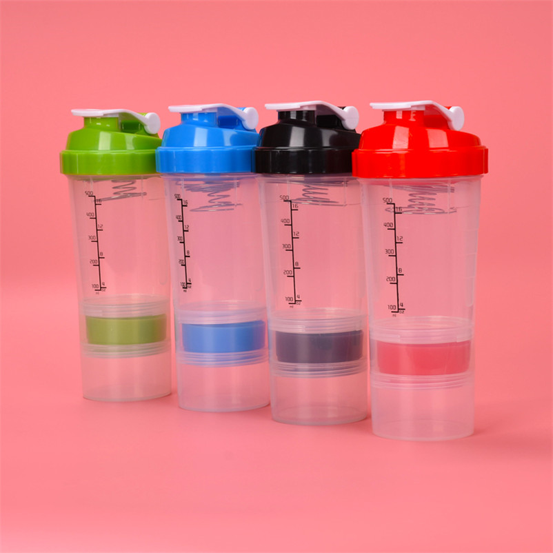 Assembly Shake Bottle Portable Protein Powder Storage Container Shaker Bottle for Milkshake Botellas De Agua Shaker Protein Gym image
