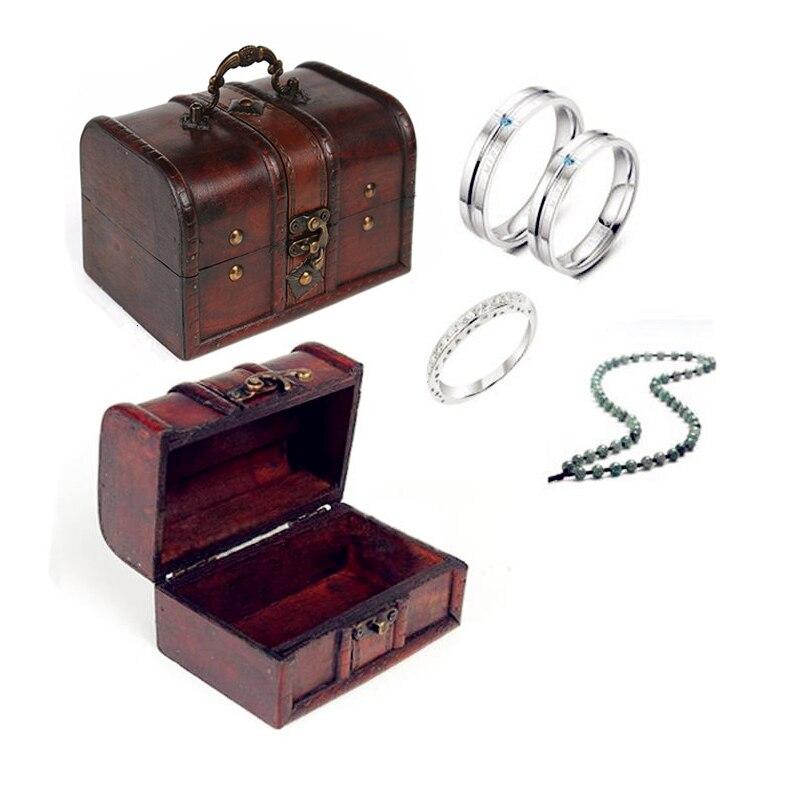 1 pcs Chic En Bois Pirate Bijoux Titulaire Cas Box De Stockage Vintage Trésor Poitrine pour organisateur en bois jewe livraison gratuite dans Boîtes De Rangement de Maison & Jardin