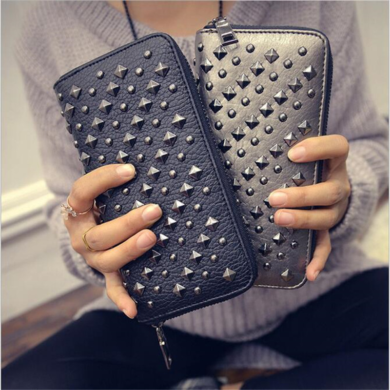 New Arrive Fashion Rivets Vintage PU Leather Long Women Wallets Clutch Purse Lady Party Wallet Female Card Holder 2017 vintage men hunter letters long brown pu leather wallet purse card holder clutch wallets gifts lt88