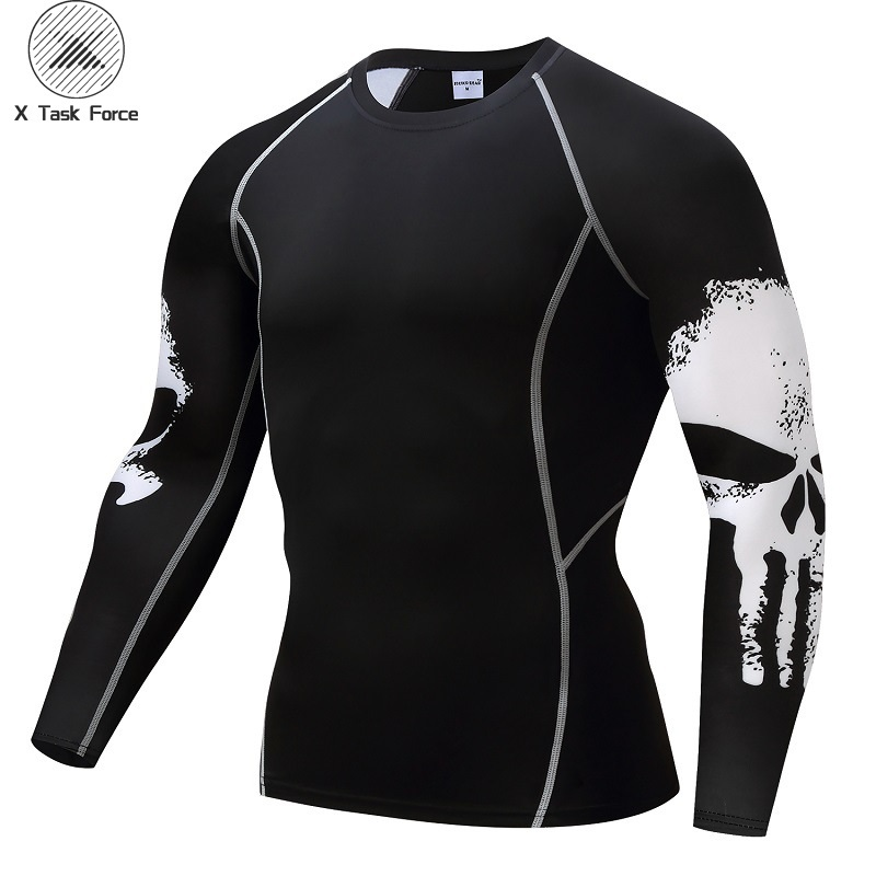 Punisher Compression Shirt Men Breathable Quick Dry T Shirt Bodybuilding Top Tee Fitness Weight Lifting Base Layer New