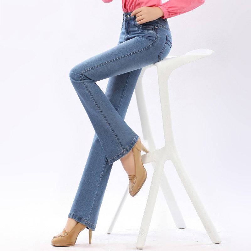 High Waist Flare Jeans bell-bottomed Pants Plus Size Stretch Skinny Jeans Women Slim Hip Denim Boot Cuts Pants 36 38 40