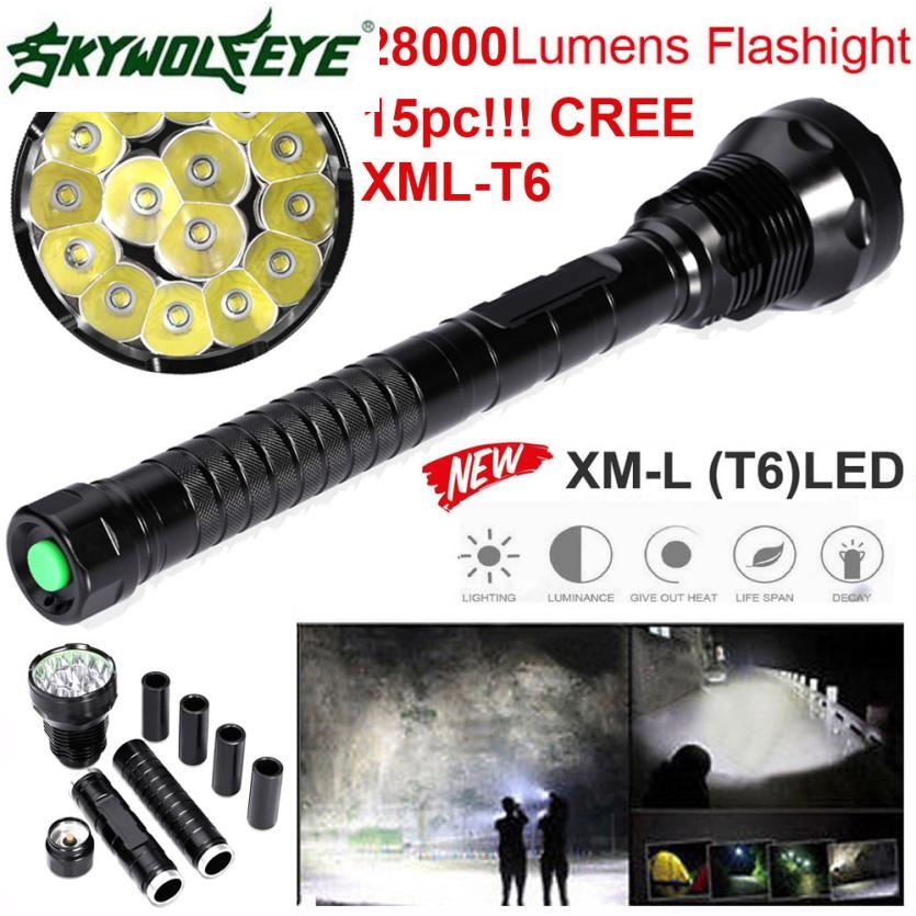 JA 6 Shining Hot Selling Fast Shipping 28000LM 15x XML T6 LED Flashlight 5 Modes Torch 26650/18650 Camping Lamp Light 28000lm 15 x t6 led flashlight 5 modes 26650 18650 camping lamp light bike accessories cycling bike bicycle front head torch m12
