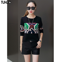 TUHAO Thick Blouse Print Woman Fleece O Neck Street Style Blouses Casual Female Top Cat Or