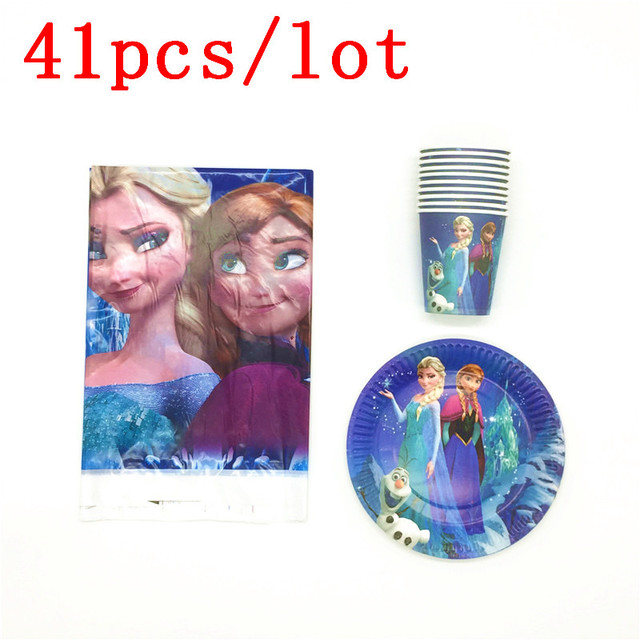 Disney Frozen Elsa & Anna Disposable Paper Cups Plates Tablecover Kid Favors Birthday Party Wedding Decoration Supply 41Pcs