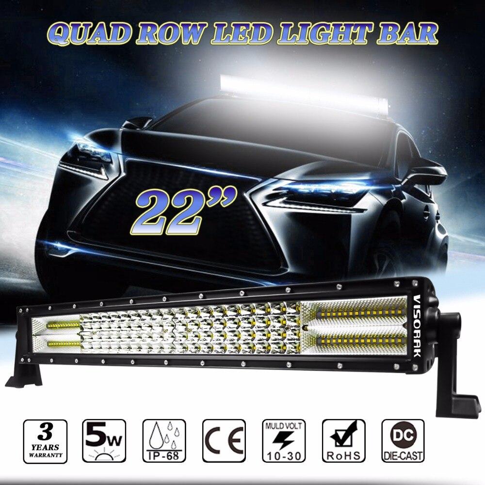 VISORAK LED Light Bar 384W Cree Chip Quad offer 46080lm Car Driving Offroad LED Bar For Volkswagen Jeep Ford 4X4 4WD SUV DC12v 24v