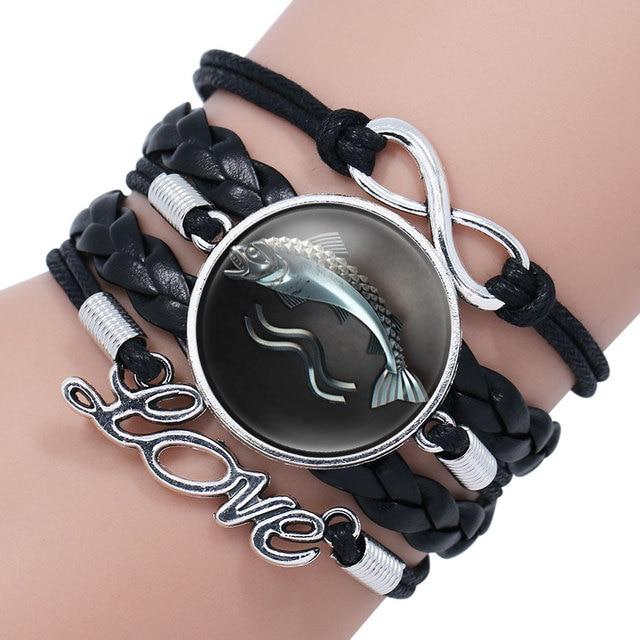 Tête Loup Verre Cabochon Bracelet Tressé En Cuir Bracelet Bracelet