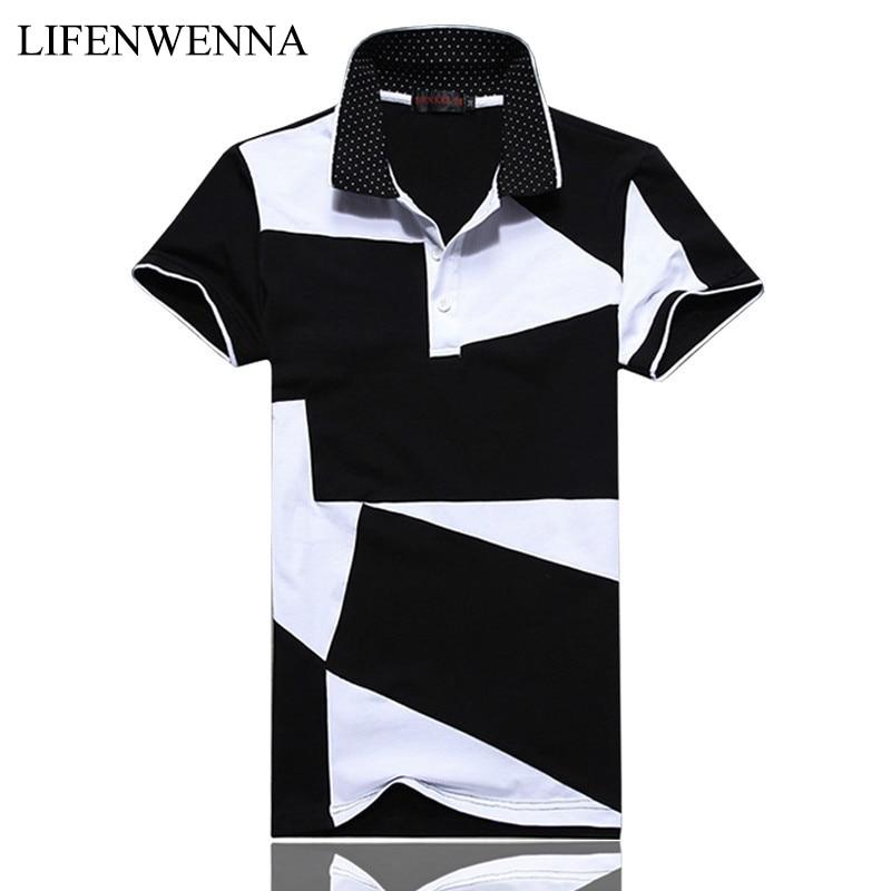 Neue mode herren polos sommer schwarz und weiß nähte kurzarm polo - Herrenbekleidung