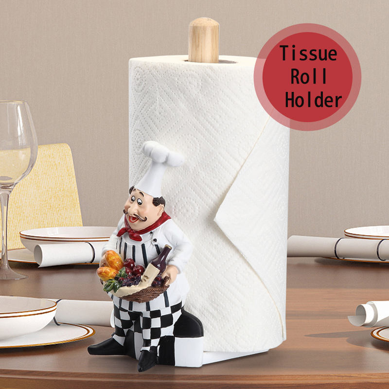 Maison Décoration Art Artisanat Cuisine Siège Type Rouleaux De Papier boîte de support Salle à manger Chef De Résine Humaine Tissu Bidon