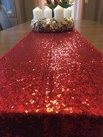 12x120 Inch-30x300cm سباركلي الأحمر الترتر عداء الجدول الجدول عداء ل حفل زفاف عيد الترتر سماط الديكور