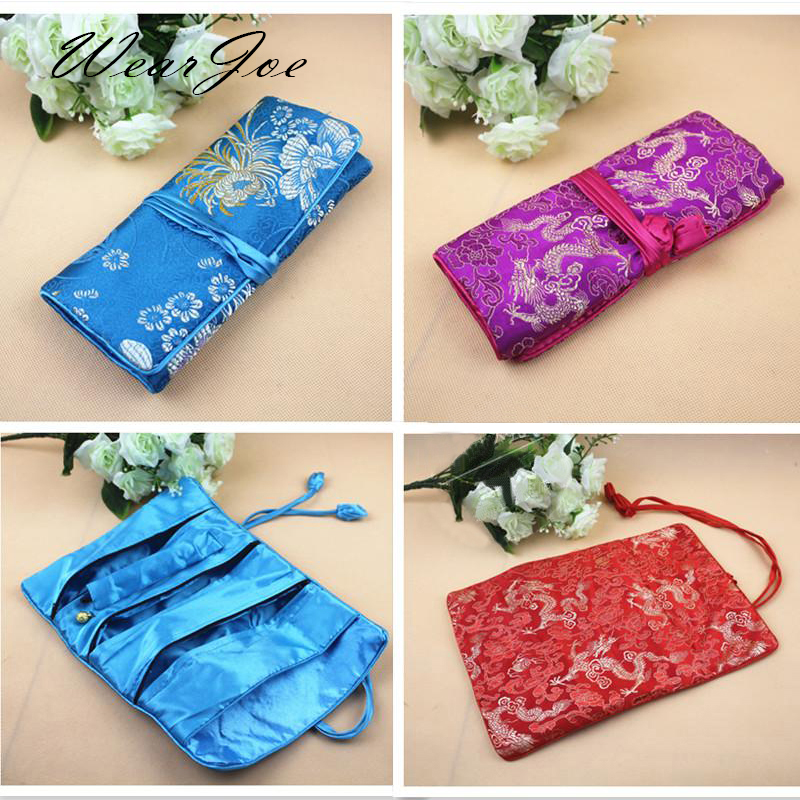 Chinese Embroidery Brocade Jewelry Travel Storage Purse Bag Foldable Organizer Handbag For Cosmetic Necklace Accessories Gift