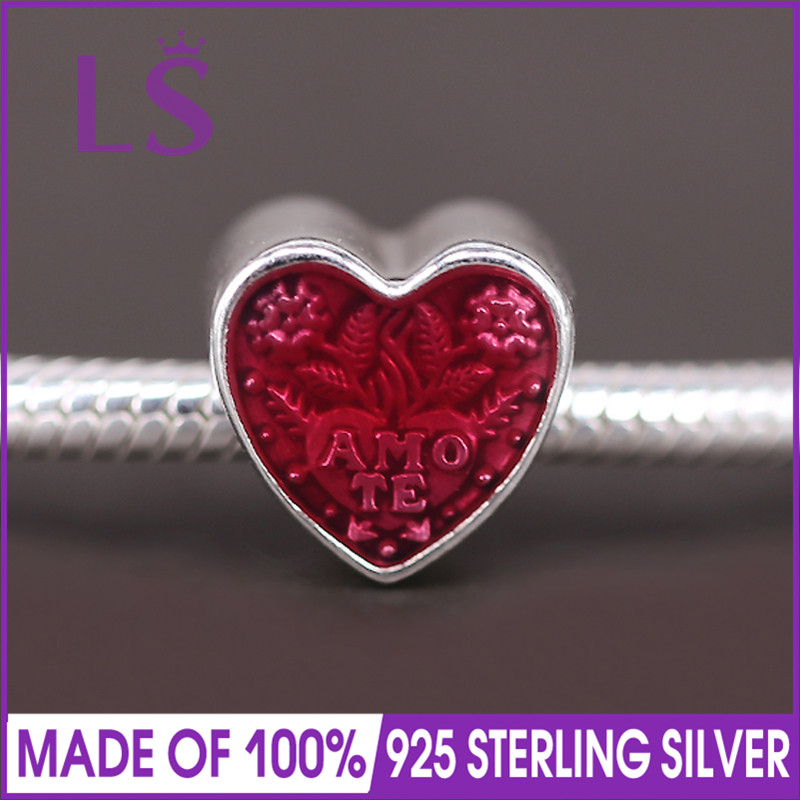 LS High Quality 925 Silver Latin Love Heart Valentines Day Charm Beads Fit Original Bracelets Pulseira Encantos.Fine Jewlery.J
