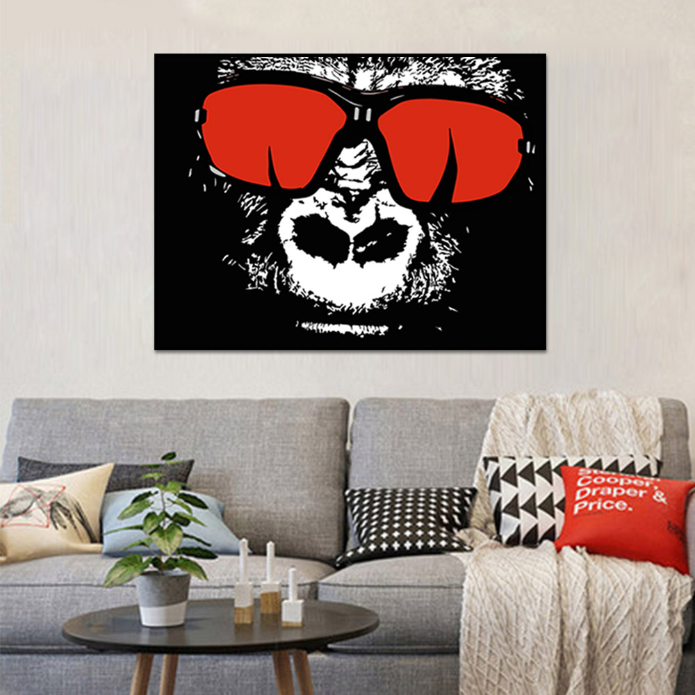 Unframed Canvas Prints Gorilla With Red Glasses Prints Wall Pictures For Living Room Wall Art Decoration Dropshipping
