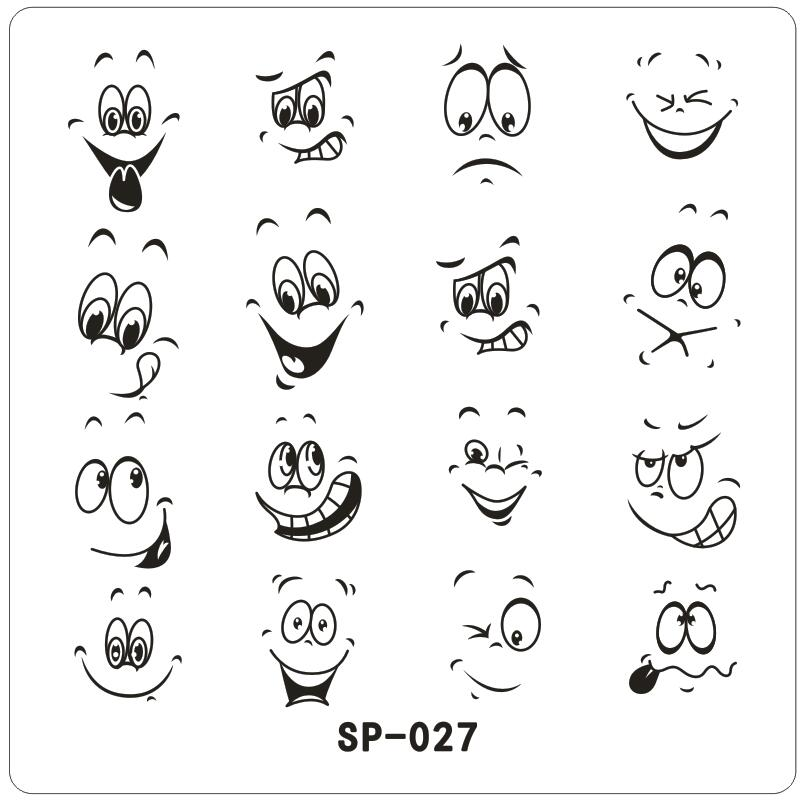 Happy Smile Face Cartoon Mows Nail Art Stamping Template