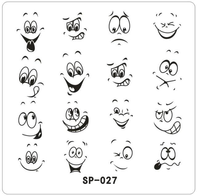 happy smile face cartoon mows nail art stamping template eyes open designed metal image plate sp