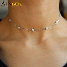 715baa8b9c1e Boda gargantilla diseño bujías de encendido del encanto de la flor fina  delicada cadena Aaa Cz chica impresionante collar de muj.