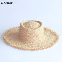 Wholesale high quality raffia hats,DIY hat by yourself, summer straw sun hats with flower,pompom,belt,bee,scarf,bow,accessories(China)