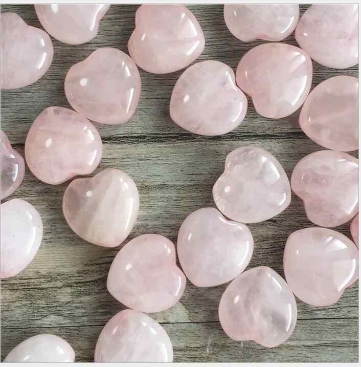 25mm Heart Shaped Natural Rose Crystal Pink Quartz Specimens Healing Stone Love Gems Pink Home Decor R1561