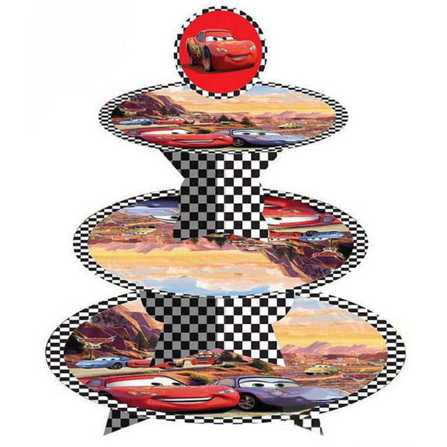 1 set Cars 3 tier cake stand cupcake holder girl kids birthday party ...