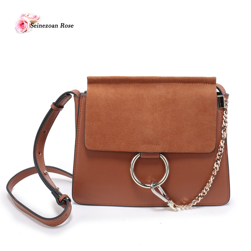 ФОТО 2017 Women 100% Genuine Leather Flap Bags Small Shoulder bags Circle Ring Handbags Messenger Bags for Women Ladies Crossbody Bag