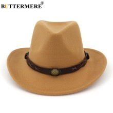 BUTTERMERE Camel Hat Cowboy Ethnic Style Woolen Western Cowboy Hat Jazz Mens Top Hats Vintage Spring Autumn Women Fedora(China)