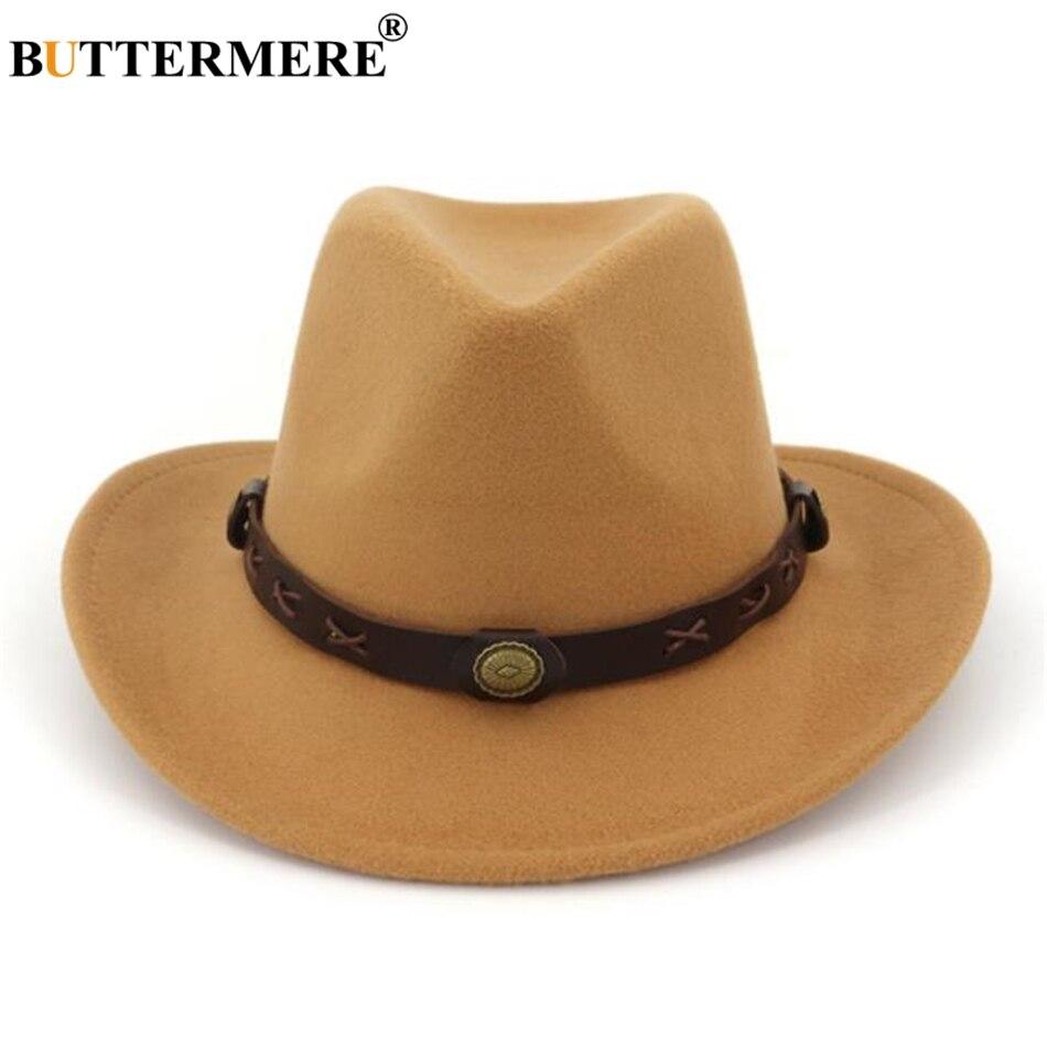 Sombrero vaquero de fieltro occidental de lana corona marrón Unisex ... 0e6fad994e15