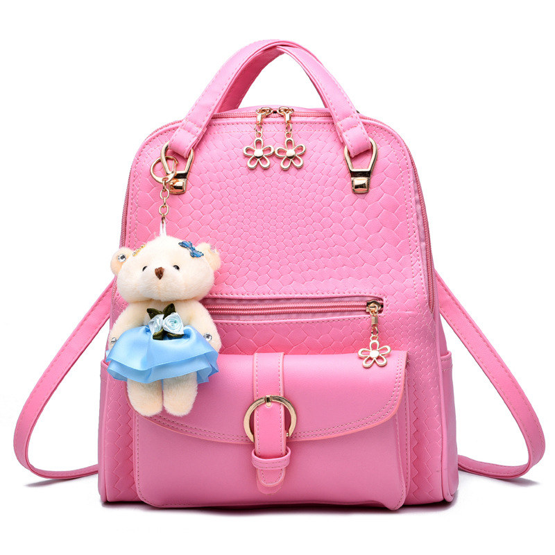 Fashion Pink PU Womens Backpacks Casual Elegant Schoolbag Adjustable Straps Practical HandleFashion Pink PU Womens Backpacks Casual Elegant Schoolbag Adjustable Straps Practical Handle