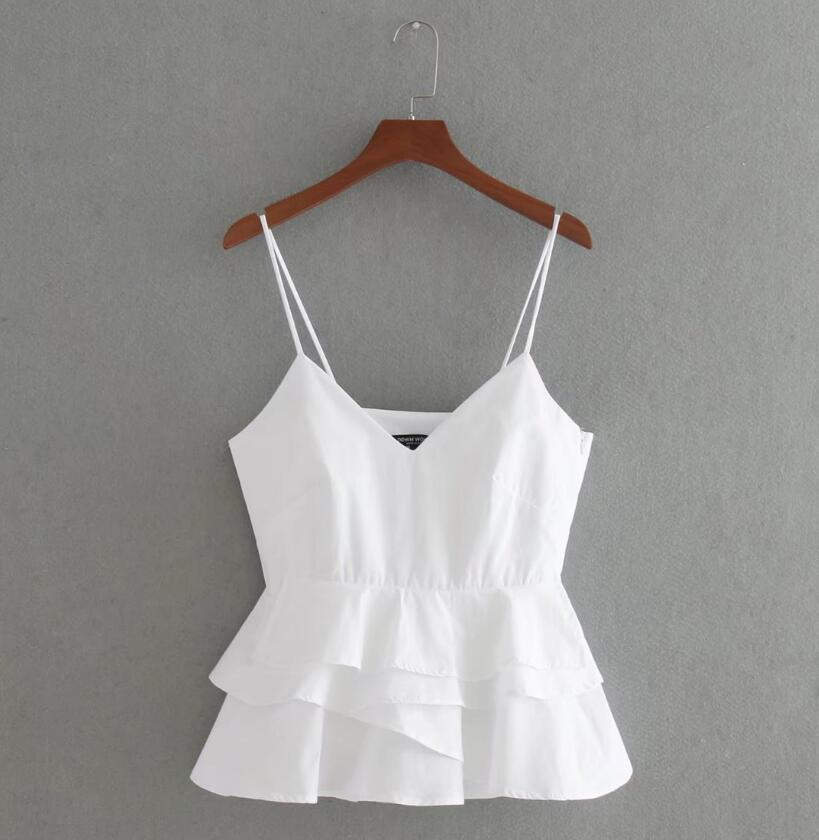 white short-cut top women Summer 2017 sleeveless Tops With a neck strap Femme spicy shortened