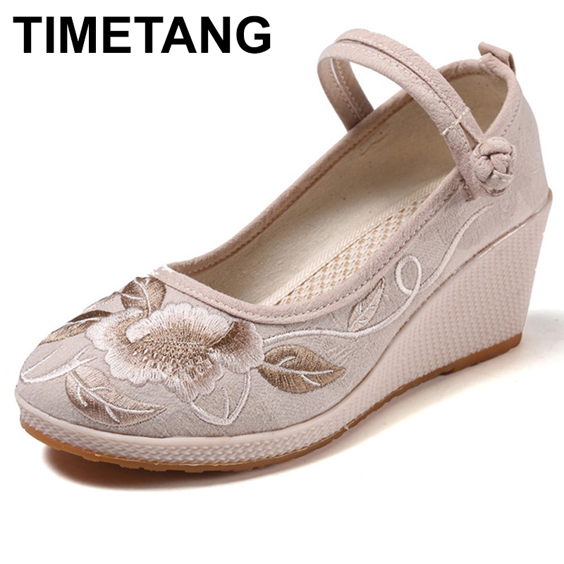 TIMETANGHandmade Women Pumps Casual Linen Canvas Embroidered Espadrilles Wedge Platforms Ladies Med Heel Cotton Embroidery Shoes