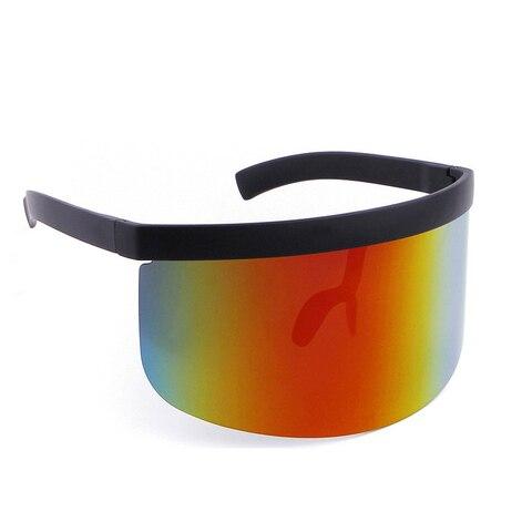 ALOZ MICC Women Oversize Shield Visor Sunglasses Women Retro Windproof Glasses Men Shield Visor Flat Top Hood Eyeglasses Q439 Lahore