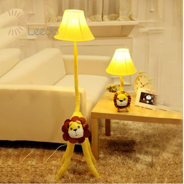 free shipping cottage children e27 floor lamp environmental cartoon rustic fabric bedside lamp cute lion animal light DY-1164